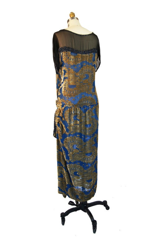 1920s Blue Silk Devore Beaded Flapper For Sale 1