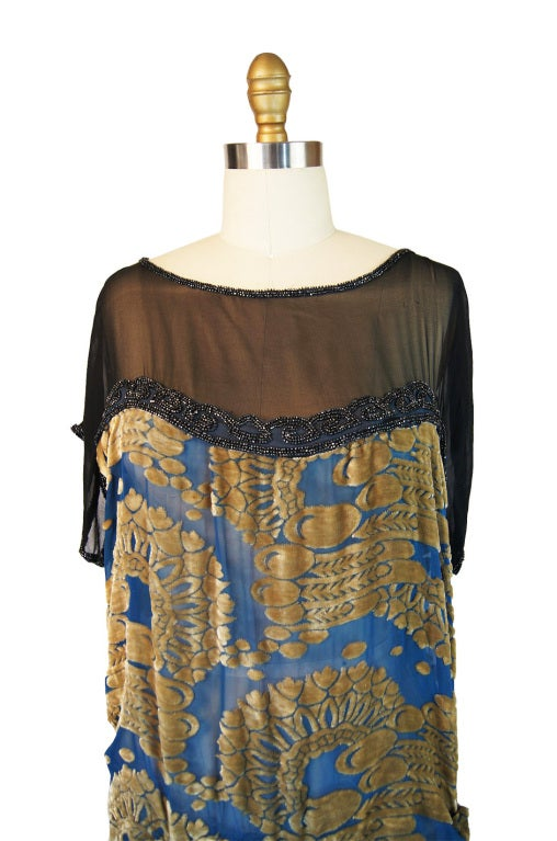 1920s Blue Silk Devore Beaded Flapper For Sale 2