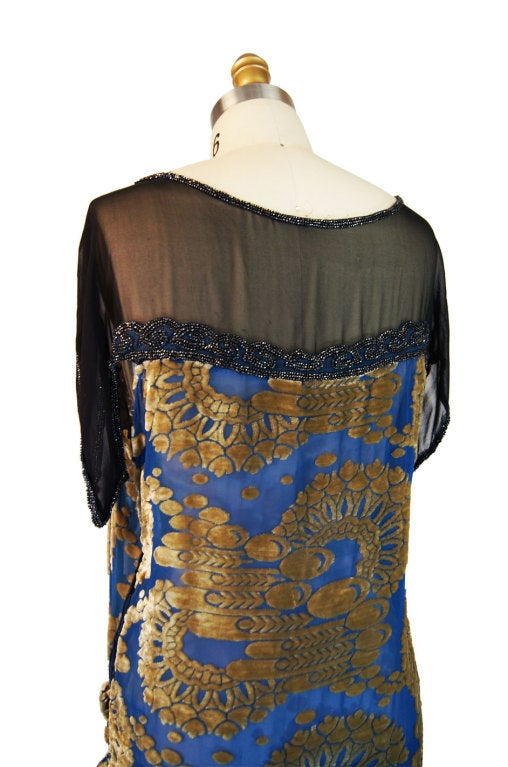 1920s Blue Silk Devore Beaded Flapper For Sale 3