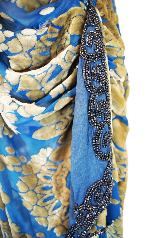 1920s Blue Silk Devore Beaded Flapper For Sale 6