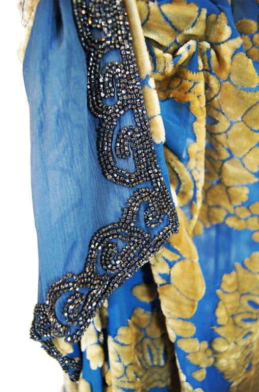1920s Blue Silk Devore Beaded Flapper For Sale 7