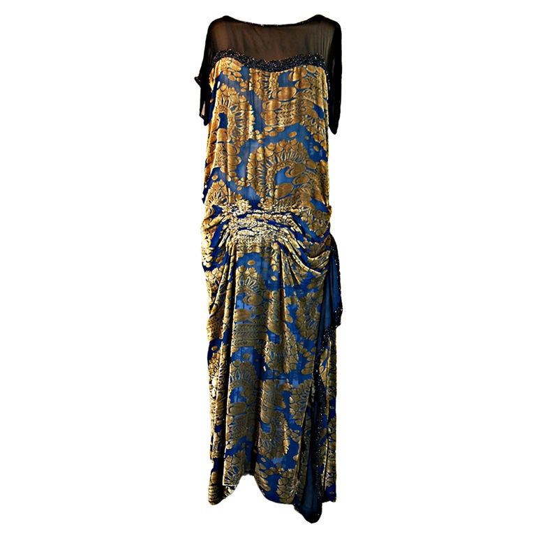1920s Blue Silk Devore Beaded Flapper For Sale