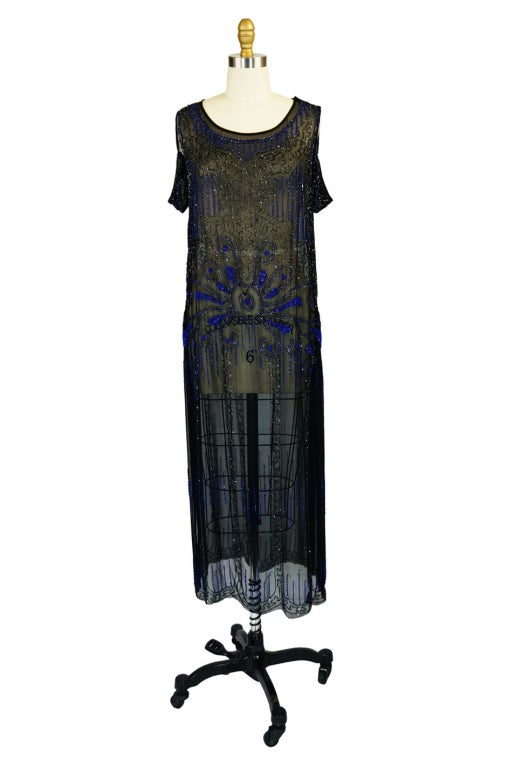 1920s Silk Blue Beaded Flapper Dress 2