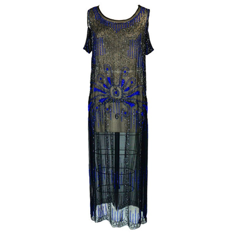 1920s Silk Blue Beaded Flapper Dress 1