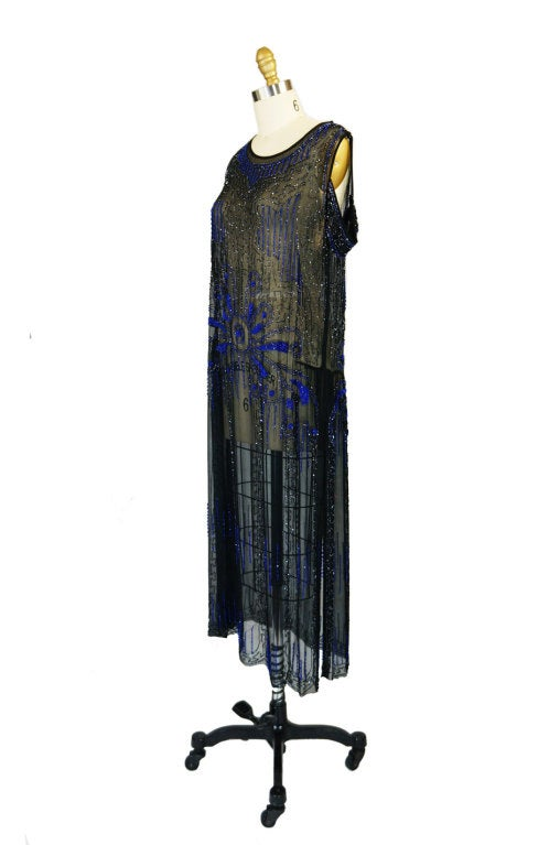 1920s Silk Blue Beaded Flapper Dress 3