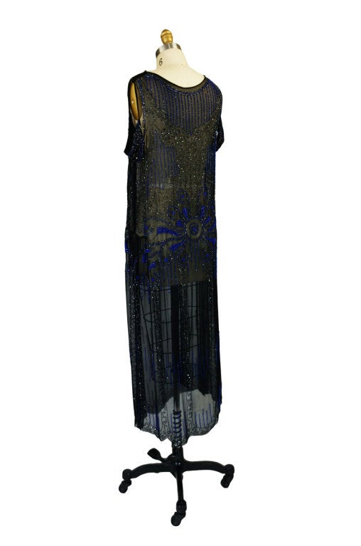1920s Silk Blue Beaded Flapper Dress 4