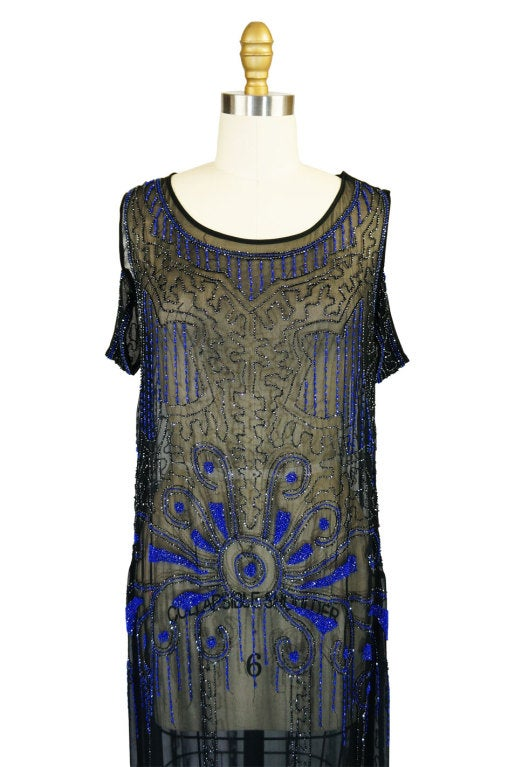 1920s Silk Blue Beaded Flapper Dress 5
