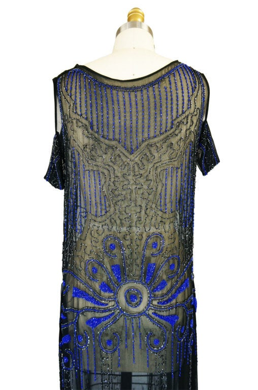 1920s Silk Blue Beaded Flapper Dress 6