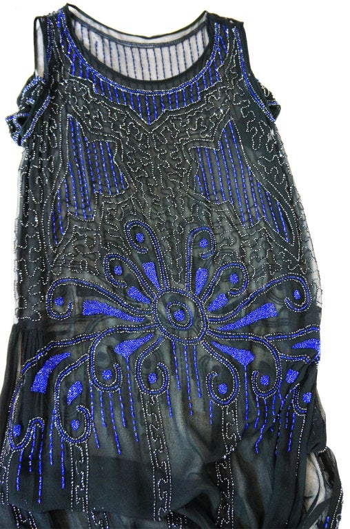1920s Silk Blue Beaded Flapper Dress 8