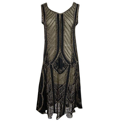 1920s Metallic Thread on Silk Flapper Dress