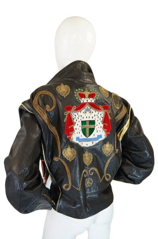 1980s Moschino Leather Crest Jacket 2