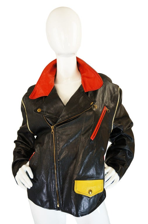 1980s Moschino Leather Crest Jacket 3