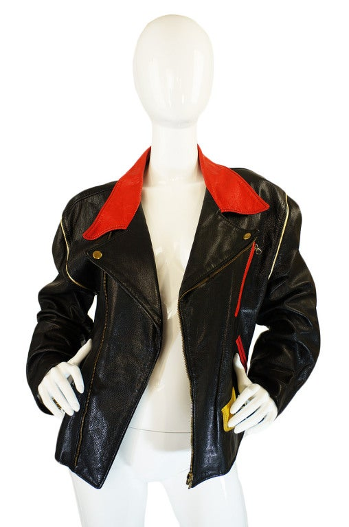 1980s Moschino Leather Crest Jacket 4