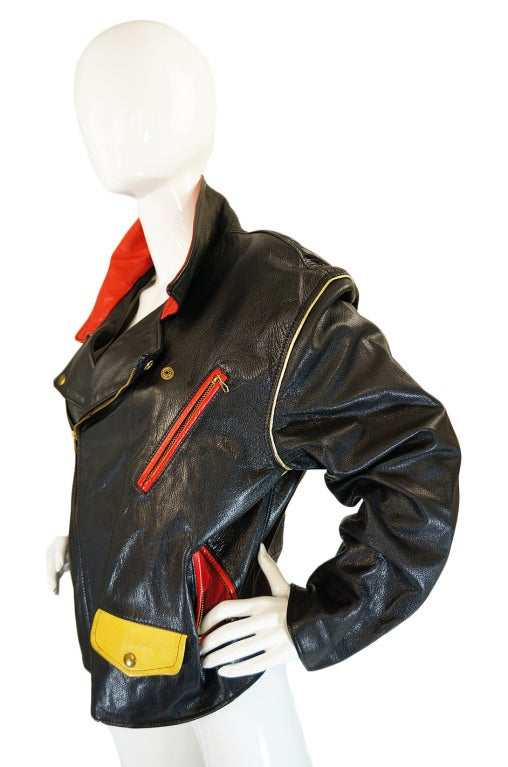 1980s Moschino Leather Crest Jacket 5