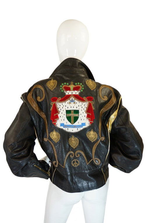 1980s Moschino Leather Crest Jacket 6