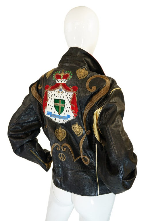 1980s Moschino Leather Crest Jacket 7