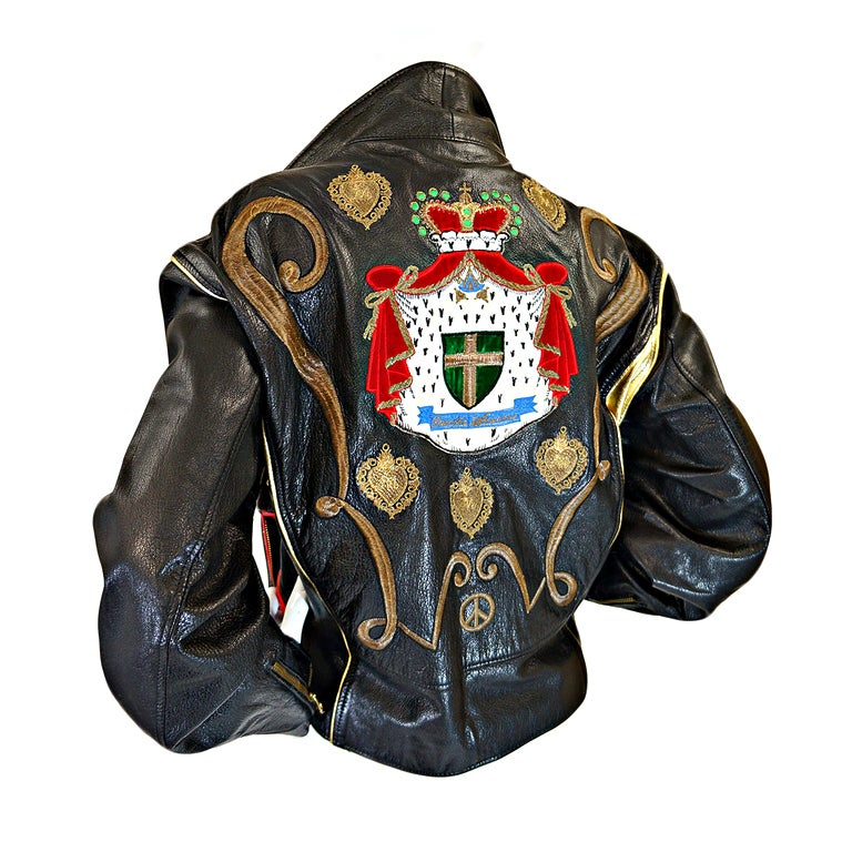 1980s Moschino Leather Crest Jacket 1