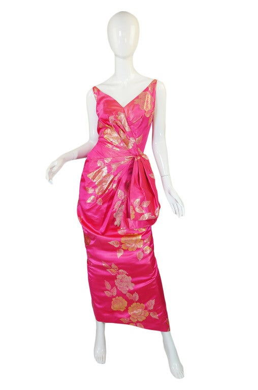 1950s Pink Silk Brocade Evening Gown image 2
