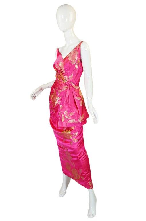 1950s Pink Silk Brocade Evening Gown image 3