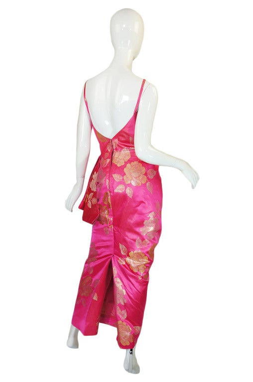 1950s Pink Silk Brocade Evening Gown image 4