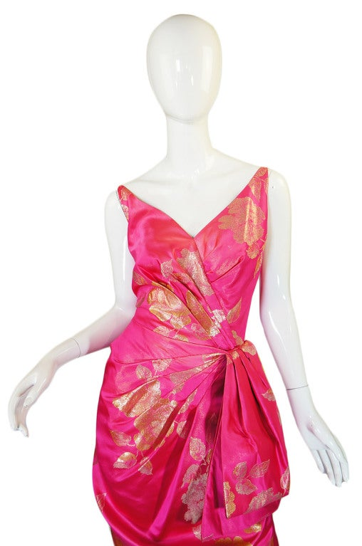 1950s Pink Silk Brocade Evening Gown image 5
