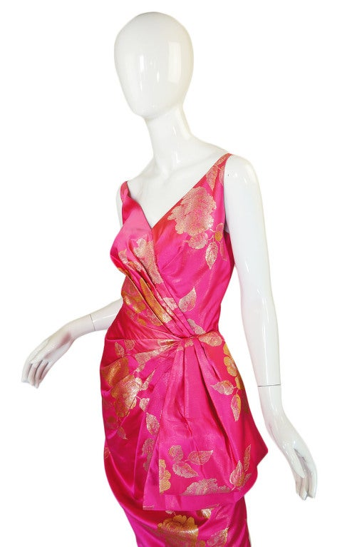1950s Pink Silk Brocade Evening Gown image 6