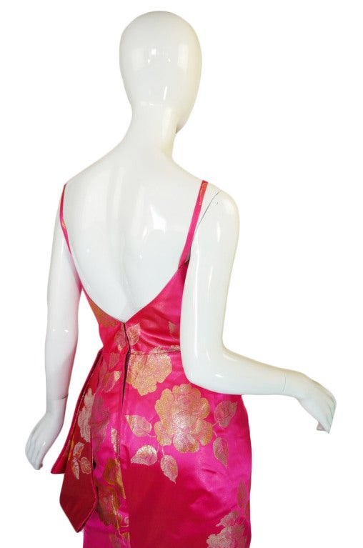 1950s Pink Silk Brocade Evening Gown image 7