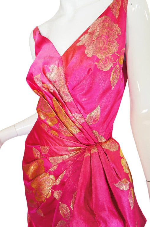 1950s Pink Silk Brocade Evening Gown image 8