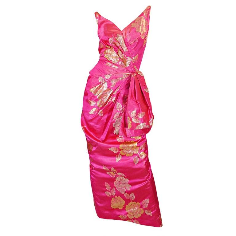 1950s Pink Silk Brocade Evening Gown