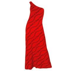 1970s Gucci One Shoulder Maxi Dress