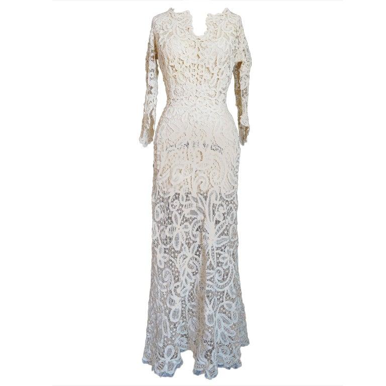 c.1905 Amazing Battenburg Lace Dress at 1stdibs