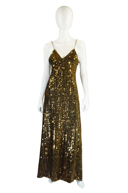 1970s Rare Biba Gold Sequin Maxi Dress At 1stdibs