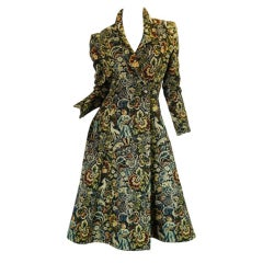c1970 Rare Biba Tapestry Flare Coat