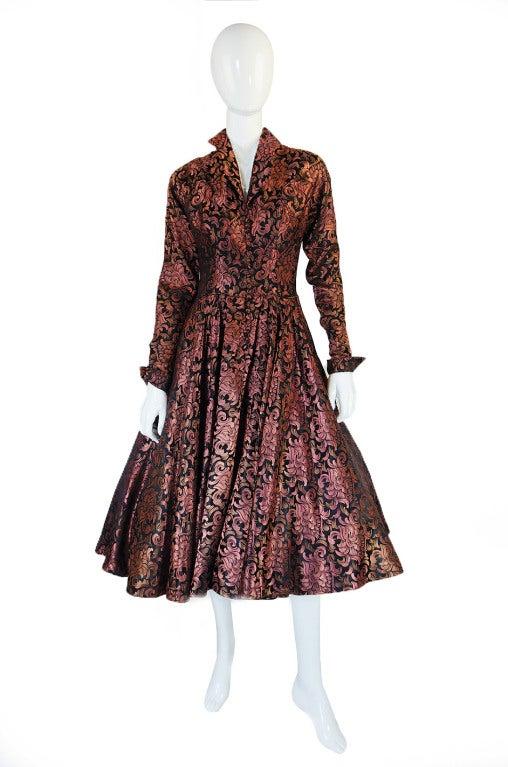 1950s Ceil Chapman Copper Silk Dress At 1stdibs
