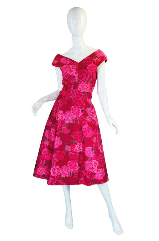 1950s Pink Floral Print Full Skirted Dress image 2
