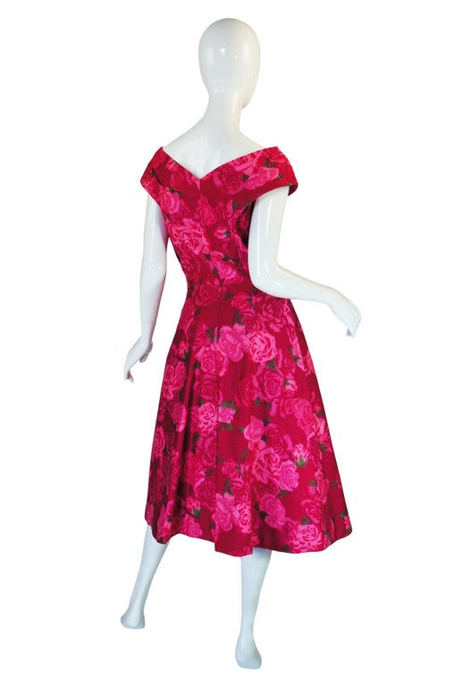 1950s Pink Floral Print Full Skirted Dress image 3