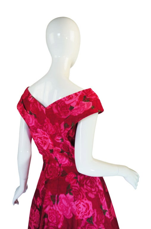 1950s Pink Floral Print Full Skirted Dress image 6