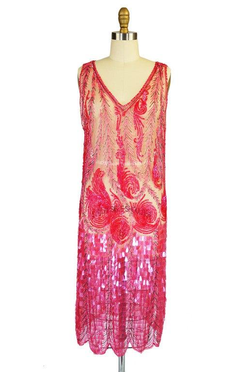 1920s Pink Sequin & Paillette Net Flapper image 3