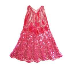 1920s Pink Sequin & Paillette Net Flapper