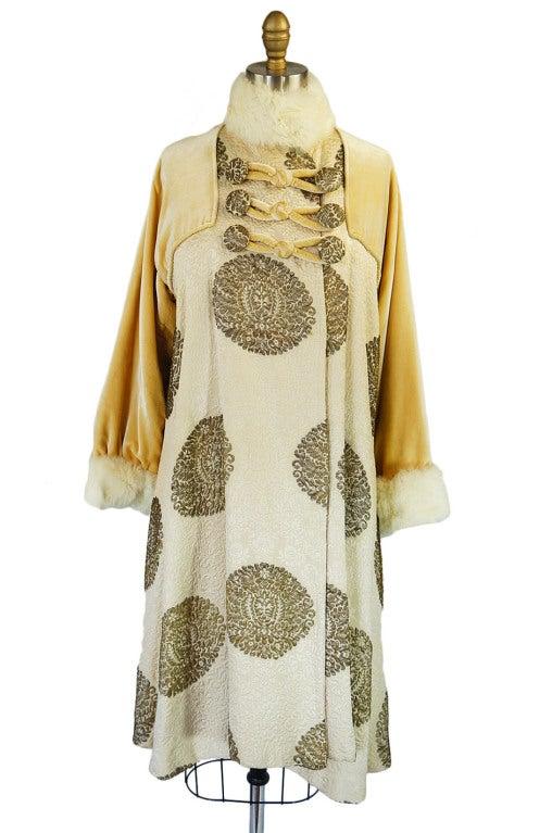 1920s Lame Brocade Velvet Flapper Coat 4