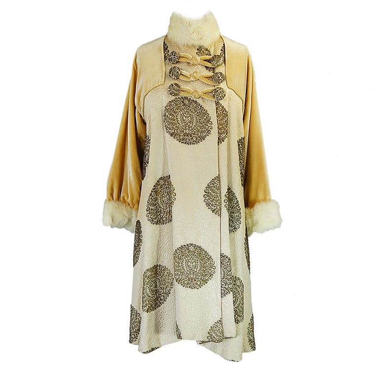 1920s Lame Brocade Velvet Flapper Coat 1
