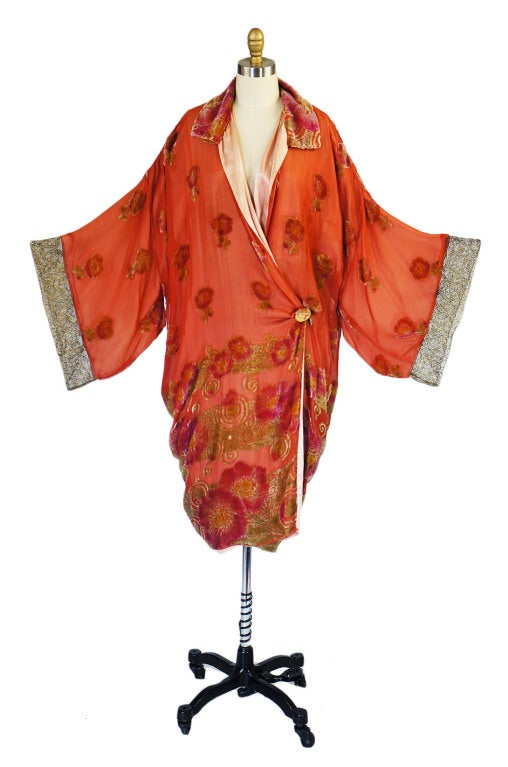 1920s Silk, Velvet & Gold Flapper Coat 2