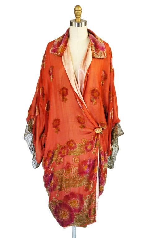 1920s Silk, Velvet & Gold Flapper Coat 5