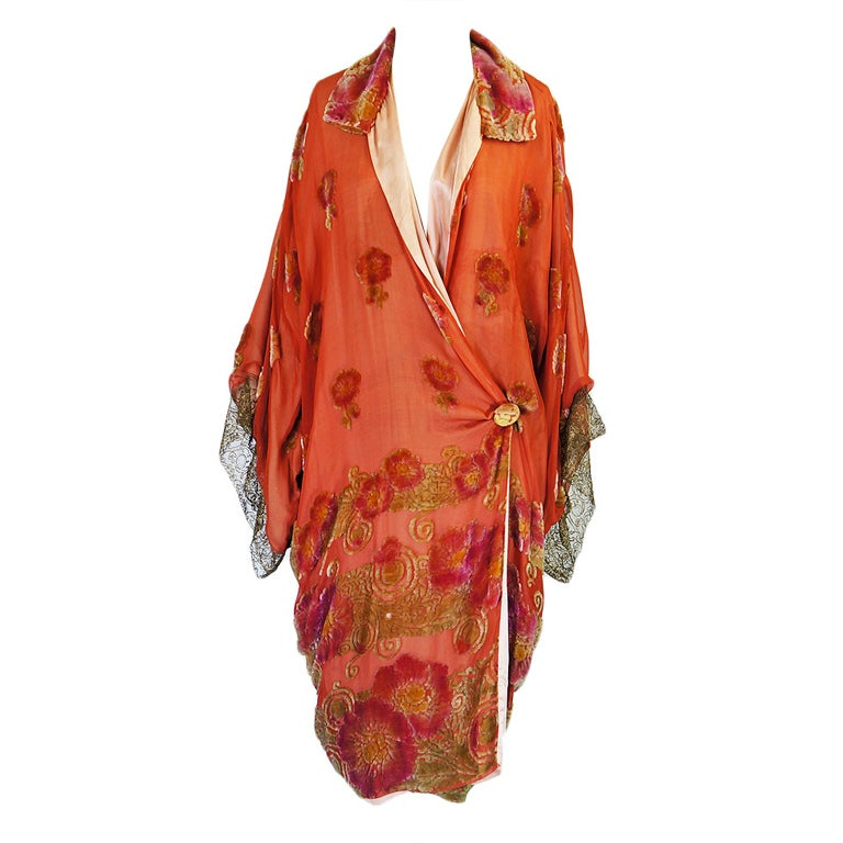 1920s Silk, Velvet & Gold Flapper Coat 1