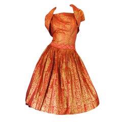 1950s Hand Painted Paper Dress & Shrug