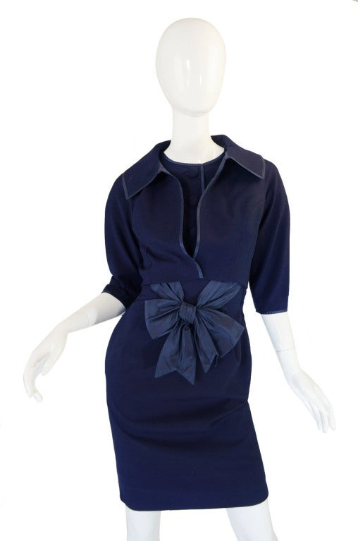 1950s Rare Hardies Amies Navy Bow Suit image 5