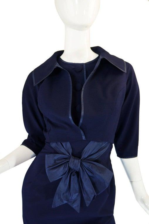 1950s Rare Hardies Amies Navy Bow Suit image 7