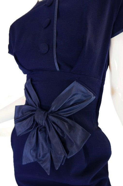 1950s Rare Hardies Amies Navy Bow Suit image 9