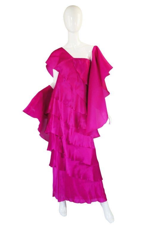 1990s Silk Organza Pink Gown w Cape image 2