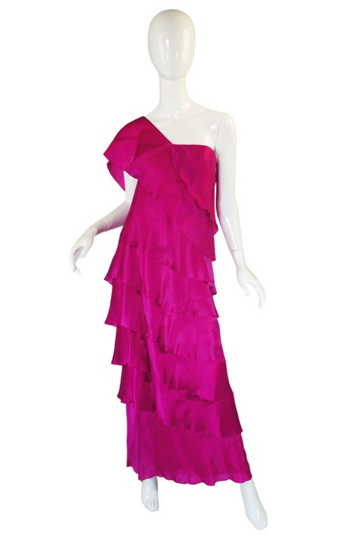 1990s Silk Organza Pink Gown w Cape image 3